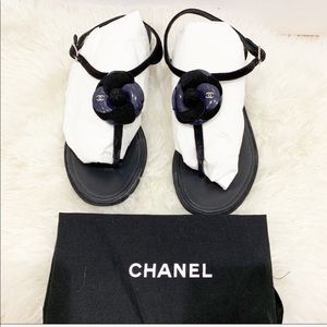 Chanel Black Blue suede patent leather logo sandal